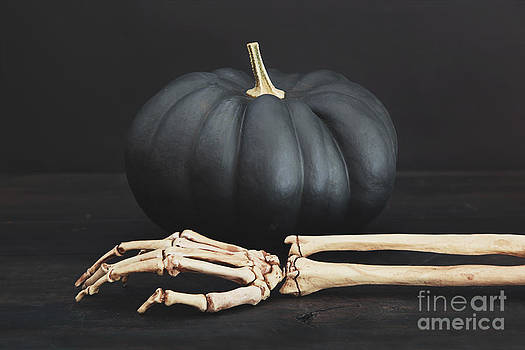 Sandra Cunningham - Black pumpkin with skeleton arm and hand