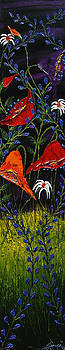 Black Sky Wildflowers 1 by Portland Art Creations
