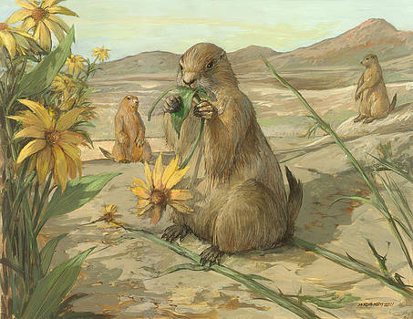 Black-tailed Prairie Dogs by ACE Coinage painting by Michael Rothman