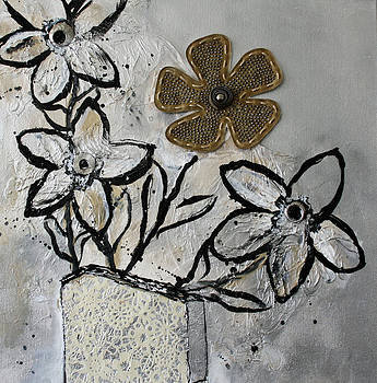 Black - White Abstract Flowers  by Victoria  Johns