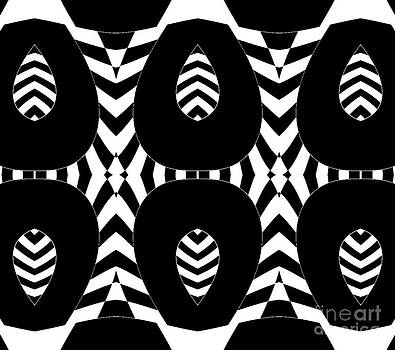 Geometric Black White Op Art Abstract No.264. by Drinka Mercep