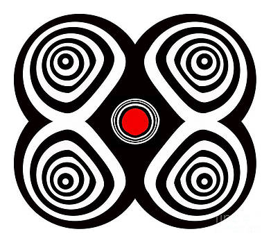 Minimalism Black White Red Geomteric Art No.169. by Drinka Mercep