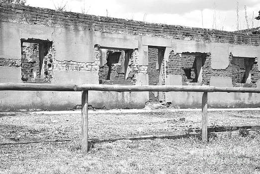 Black and white old ruin by herman cloete