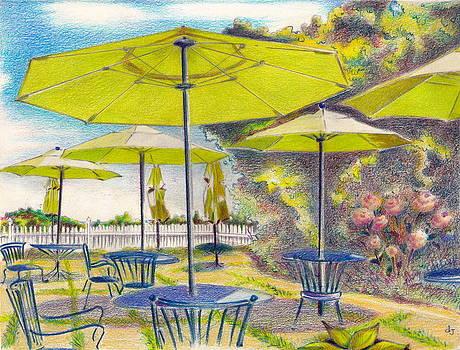 Block Island 2- Green Umbrellas by Daniela Johnson