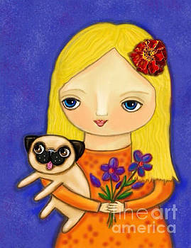 Blonde Girl with Pug by Cynthia Snyder