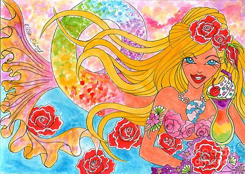 Blonde mermaid with Rainbow Tail by Elisa  Chong