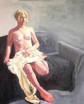 Blonde Nude On Couch by Laura Skoglund