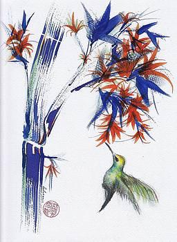 Blossom - Original Hummingbird Watercolor Painting by Rebecca Rees