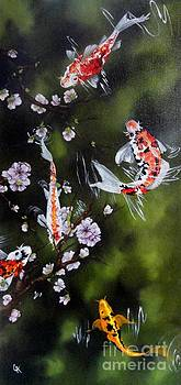 Blossoms and Koi by Carol Avants