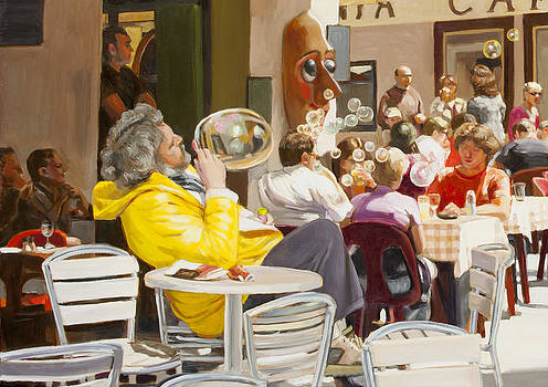Blowing Bubbles At The Cafe  by Dominique Amendola
