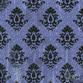 Blue And Black Marbled Damask by JJ McLerran