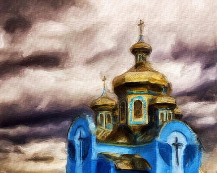 Blue and Gold Russian Orthodox Church oil by Brian Orlovich