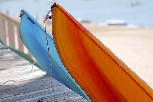Blue and Orange Kayak's  by Danielle Allard