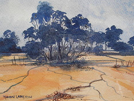 Blue and Orange Landscape by Marion Langton