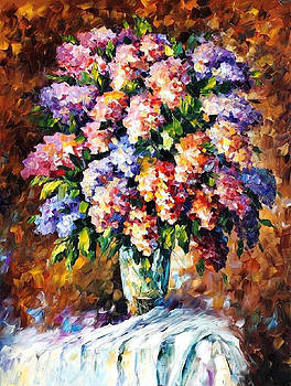 Blue And Red Flowers - PALETTE KNIFE Oil Painting On Canvas By Leonid Afremov by Leonid Afremov