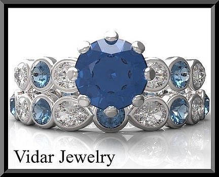 Blue And White Sapphire 14k Wedding Ring And Engagement Ring Set by Roi Avidar