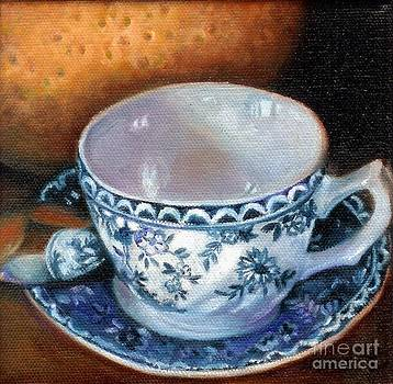 Blue and White Teacup with Spoon by Marlene Book