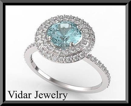 Blue Aquamarine And Diamonds 14k White Gold Engagement Ring by Roi Avidar
