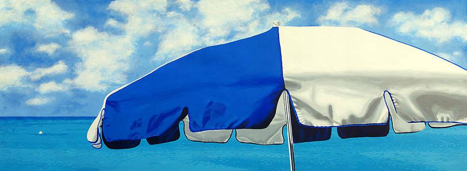 Blue Beach Umbrellas 1 by Pauline Jacobson