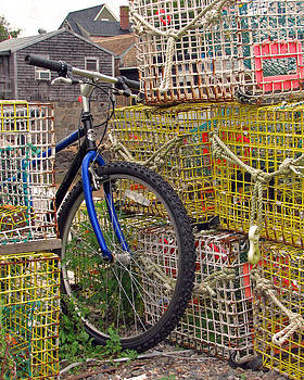 Blue Bike In Lobster Traps by Susan OBrien
