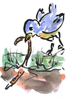 Ellen Miffitt - Blue Bird and a Worm Snack