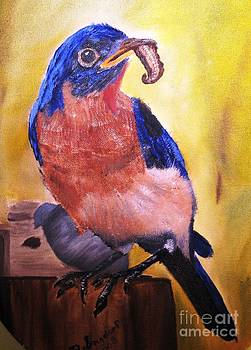 Blue Bird with Dinner by Betty and Kathy Engdorf and Bosarge
