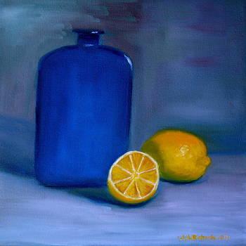 Blue bottle and lemons by Jennifer Richards