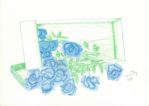 Blue Bouquet of Roses in Box by Dusty Reed