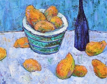 Blue bowl of golden mangoes by Siang Hua Wang