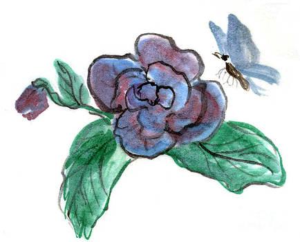 Ellen Miffitt - Blue Butterfly and Begonia