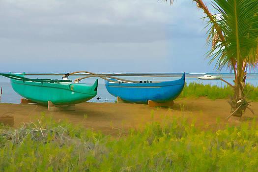 Blue canoe by Esther Branderhorst