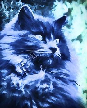Priya Ghose - Blue Cat Art by Priya Ghose