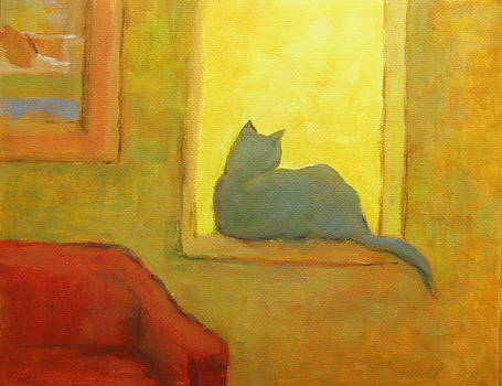 Blue cat at the window by Alfons Niex