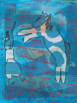 Blue circus horse by Catherine Redmayne