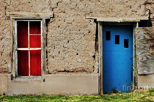 Blue Door on Adobe by Lawrence Costales