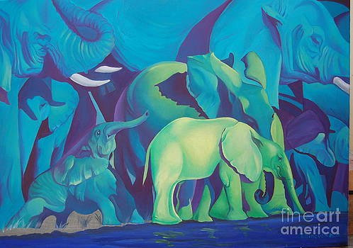 Blue Elephants by Tatyana Binovska