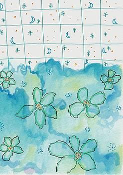 Blue Flowers Moon Stars by Rosalina Bojadschijew
