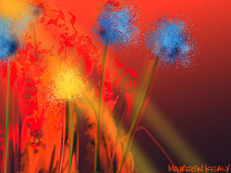 Blue Flowers on Burnt Orange by Maureen Kealy