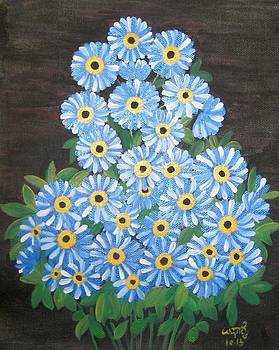 Blue flowers by Usha Rai