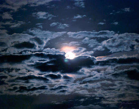 Blue Full Moon in Night Sky by Julie Magers Soulen