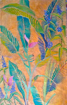 Blue Ginger and Ornamental Banana by Diane Renchler