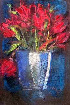 Blue Glass Red Flowers by Josie Taglienti