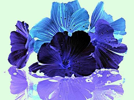 Blue Glowing Flowers by Laura Lovell
