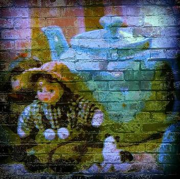 Blue Graffit Dolls and Tea Pot by Lois Bailey