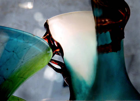 Blue Green Art Glass 2 by Judy Paleologos