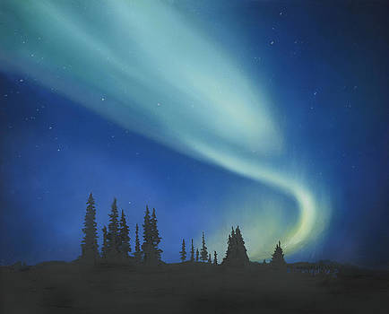 Blue Green Aurora Borealis by Cecilia Brendel