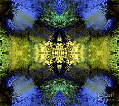 Blue Green Dimensions Split Personality Abstract Earth Art by Animated Sentiments
