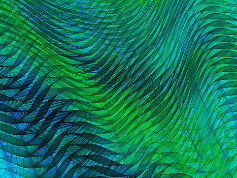Jane McIlroy - Blue Green Fabric Abstract