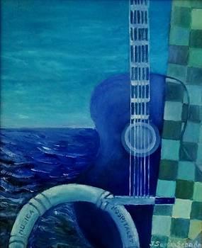 Blue guitar by Juan Sandin