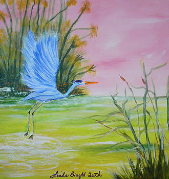 Blue Heron in Flight by Linda Bright Toth